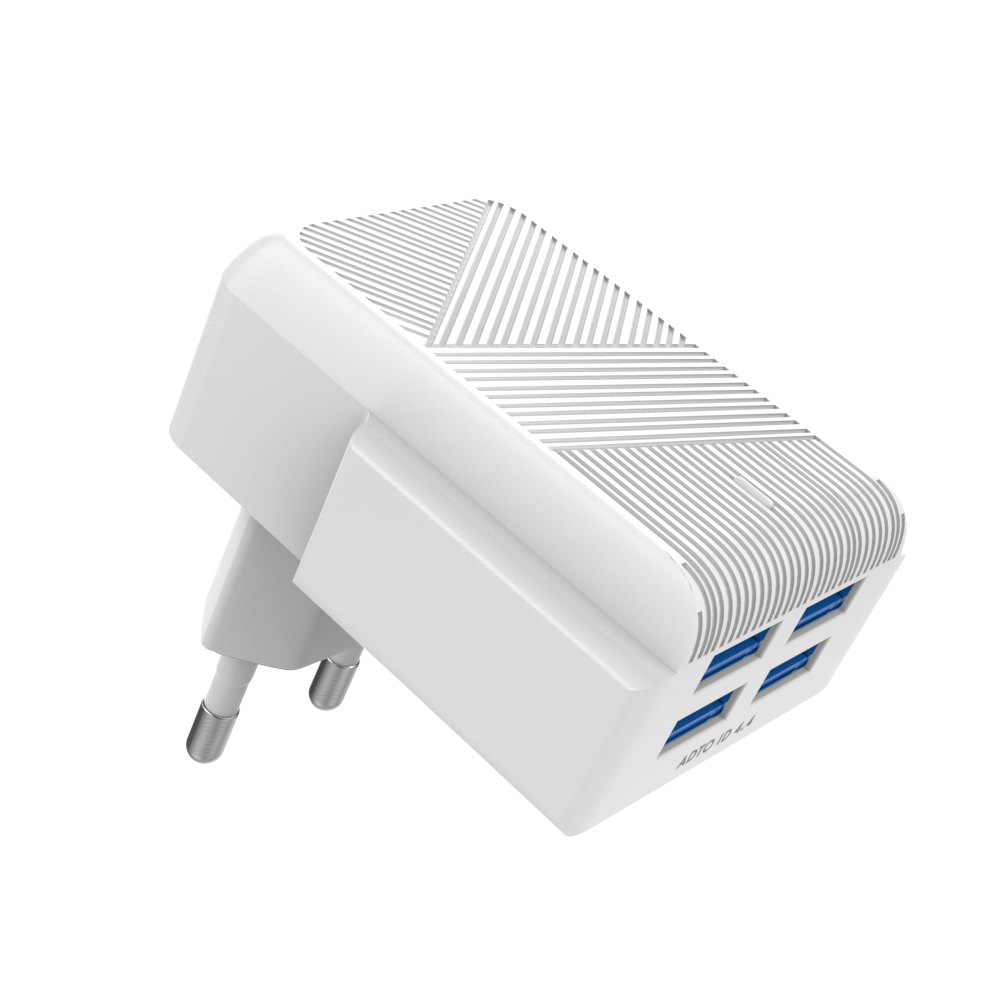 4-Ports Wall Charger Adapter With USB Cable